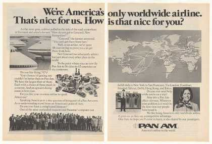 Pan Am America's Only Worldwide Airline 2-Page (1975)