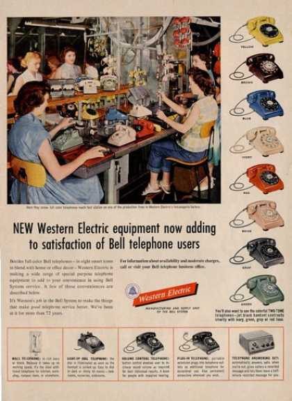 Western Electric Dial Telephone Phone Color Ad T (1954)