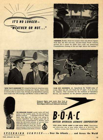 "British Overseas Airways Corporation – It's No Longer ""Weather or Not..."" (1947)"