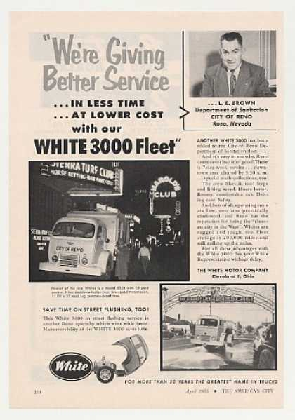 Reno Nevada White 3000 Garbage Truck Photo (1955)