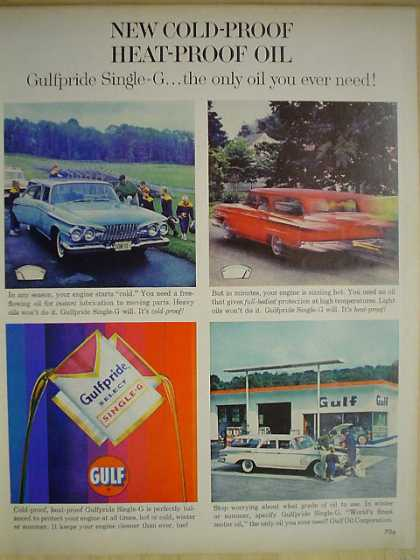 Gulf Gulfpride Oil Cold proof Heat Proof Oil (1961)