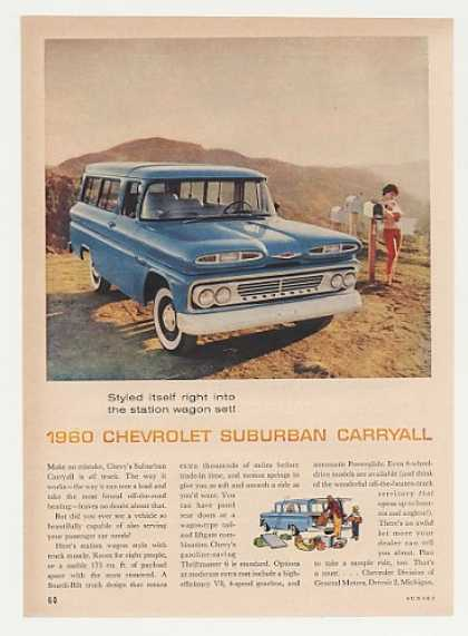 Blue Chevrolet Chevy Suburban Carryall (1960)