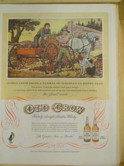 Old Crow Kentucky Whiskey. James Crow ships a barrel (1953)
