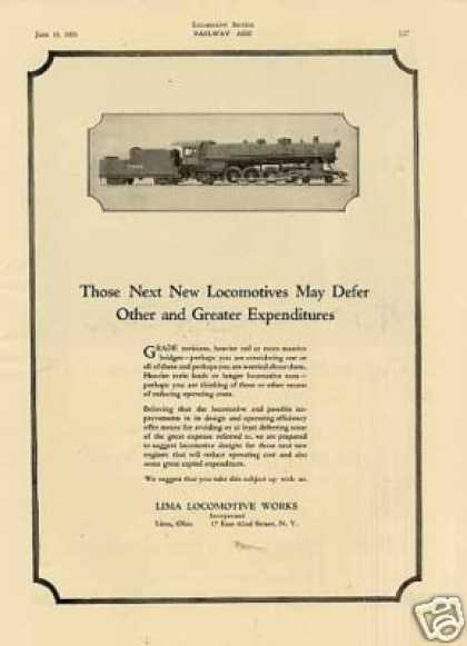 Lima Locomotive Ad Burlington 4-8-2 #7000 (1923)