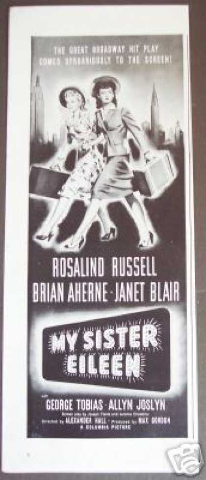 Movie Ad My Sister Eileen Janet Blair Ros Russell (1942)