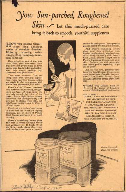 Pond's Extract Co.'s Pond's Cold Cream and Vanishing Cream – Your Sun-parched, Roughened Skin (1925)