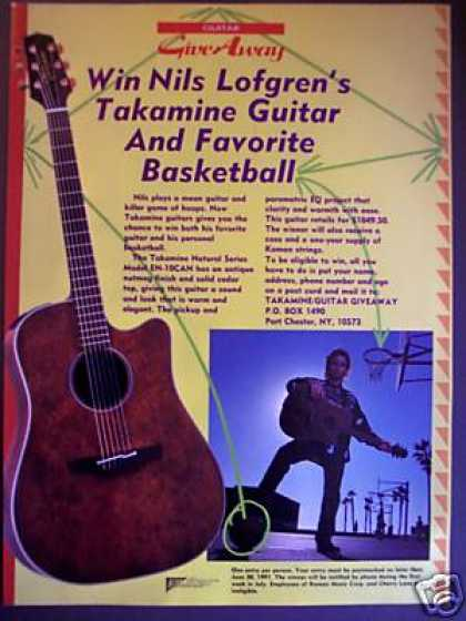 Nils Lofgren Photo Takamine Guitars Print Ad 02 (1991)