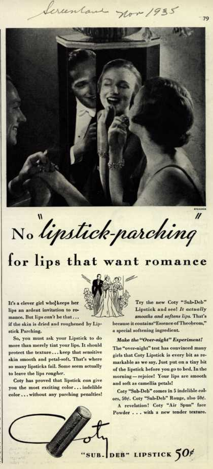 "Coty's Sub-Deb Lipstick – No ""lipstick-parching"" for lips that want romance (1935)"