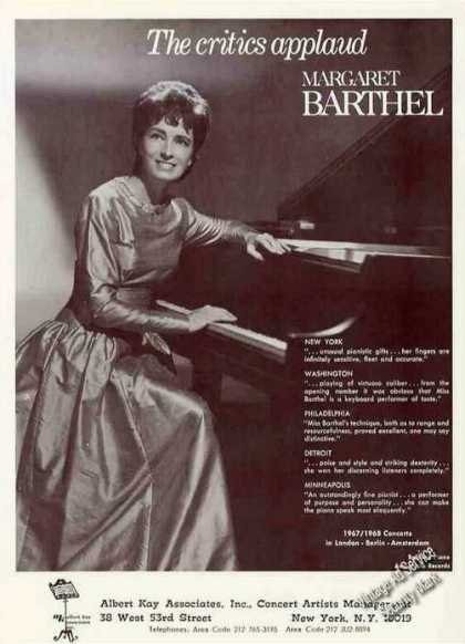 Margaret Barthel Photo Pianist Booking (1967)