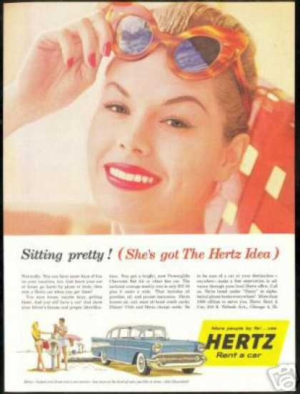 Cool Sunglasses 4 Dr Chevrolet Hertz Rent A Car (1957)