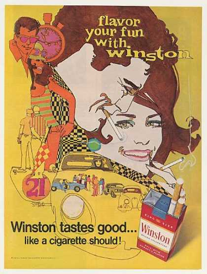 Winston Cigarette Flavor Your Fun Bob Peak art (1968)