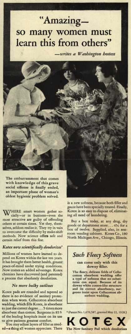 "Kotex Company's Sanitary Napkins – ""Amazing – so many women must learn this from others"" (1929)"