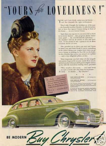 "Chrysler Car Ad ""Yours for Loveliness... (1939)"