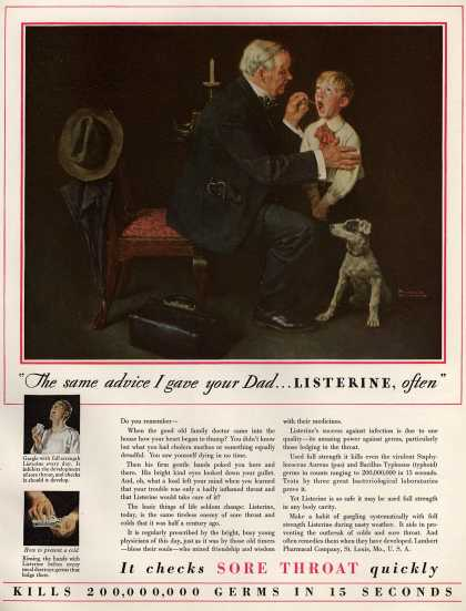 "Lambert Pharmacal Company's Listerine – ""The same advice I gave your Dad ... Listerine, often"" (1929)"
