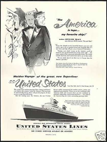 Spencer Tracy United States Line Cruise Ship (1952)
