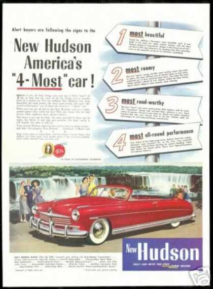 Red Hudson Convertible Vintage Print Art Car (1949)