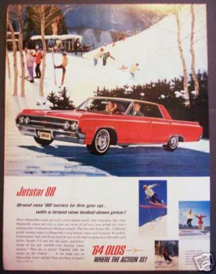 Oldsmobile Olds Jetstar 88 Car Ad Ski Scene Art (1964)