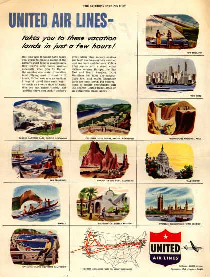 United Air Lines – United Air Lines – takes you to these vacation lands in just a few hours (1948)