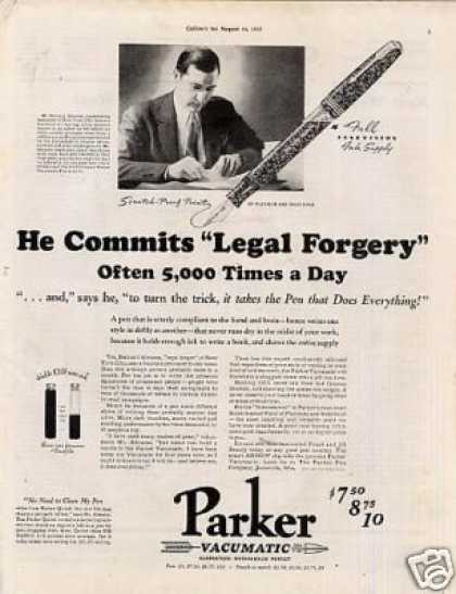 "Parker Vacumatic Pen Ad ""He Commits... (1937)"