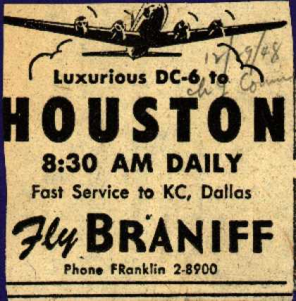 Braniff Airway's Houston – HOUSTON (1948)
