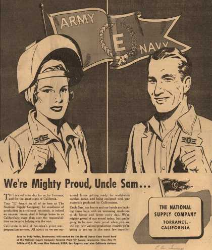 "National Supply Company's Army Navy ""E"" – We're Mighty Proud, Uncle Sam... (1943)"