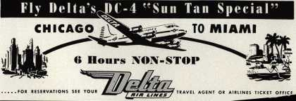"Delta Airline's Chicago to Miami – Fly Delta's DC-4 ""Sun Tan Special"" (1947)"