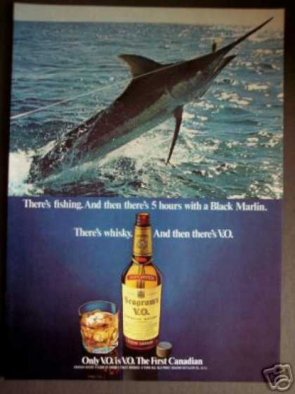 Black Marlin Fishing Photo Seagram's Vo Whisky (1976)