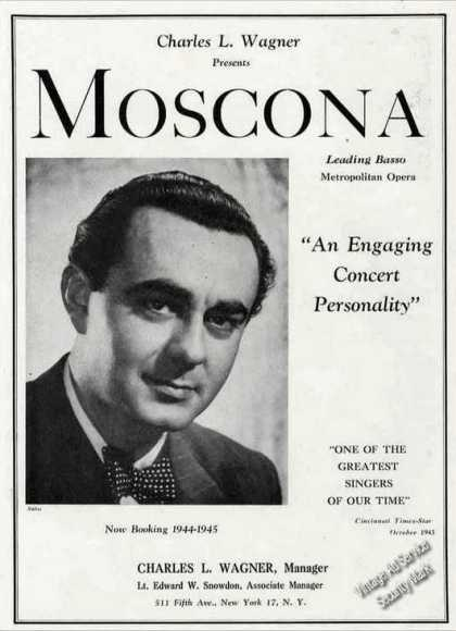 Nicola Moscona Photo Metropolitan Opera Trade (1944)