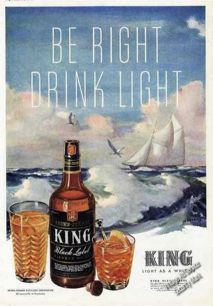 King Black Label Blendy Whiskey Ad Art By Sessions (1943)