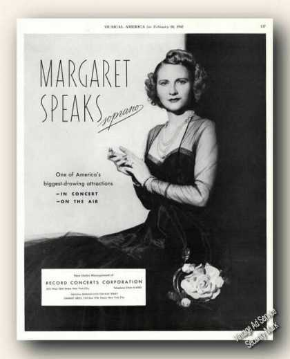Margaret Speaks Photo Soprano Antique (1942)