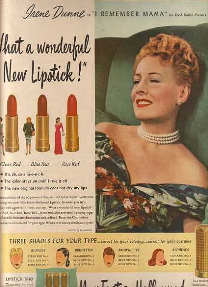 Max Factor – Hollywood Lipstick – Irene Dunne (1947)
