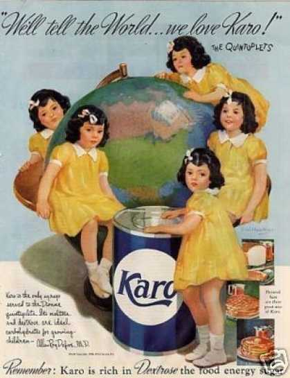 Karo Syrup Color Ad Dionne Quints (1938)