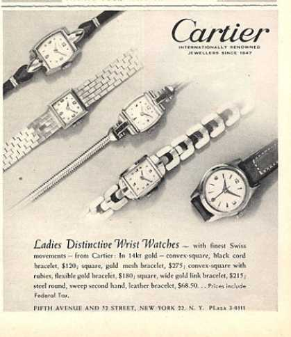 Cartier Watch Five Ladies Models (1951)