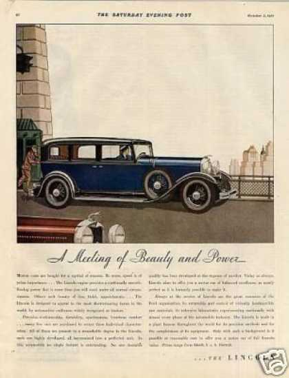 "Lincoln Car Color Ad ""A Meeting of Beauty... (1932)"