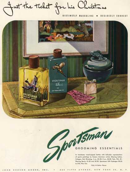 John Hudson Moore's Sportsman Grooming Essentials – Just the ticket for his Christmas (1945)