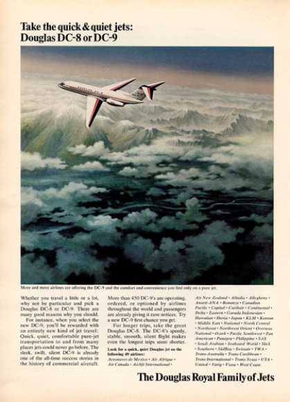 Douglas Dc-9 Plane Airplane Flying Print (1966)
