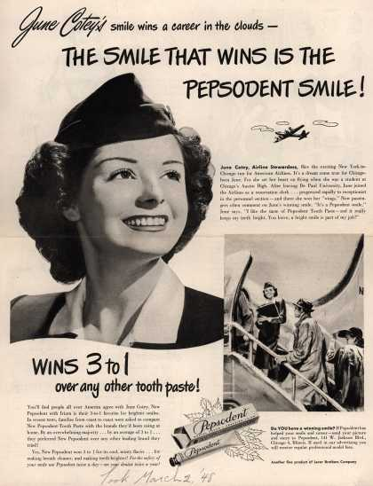 Lever Brothers Company's tooth paste – June Cotey's smile wins a career in the clouds – The smile that wins is the Pepsodent smile (1948)