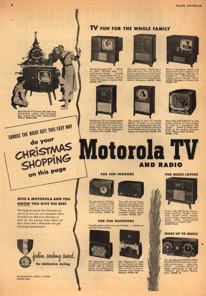 Motorola's various – Choose the Right Gift This Easy Way: do your Christmas Shopping on this page Motorola TV and Radio (1950)