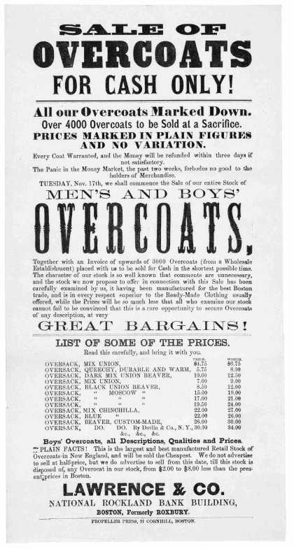 Sale of overcoats for cash only! All our overcoasts marked down ... Lawrence & Co. National Rockland Bank Building .... Boston. Propeller Press. 21 Co (1868)