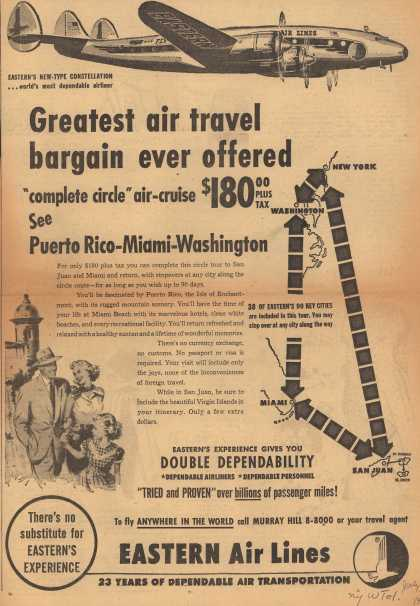 "Eastern Air Lines – Greatest Air Travel Bargain Ever Offered. ""Complete Circle"" Air-Cruise $180.00 Plus Tax. See Puerto Rico-Miami-Washington. (1951)"