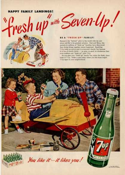 7up Glass Bottle Toy Model Air Plane Ad T (1949)