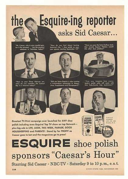 Sid Caesar Photo Esquire Shoe Polish Trade (1956)