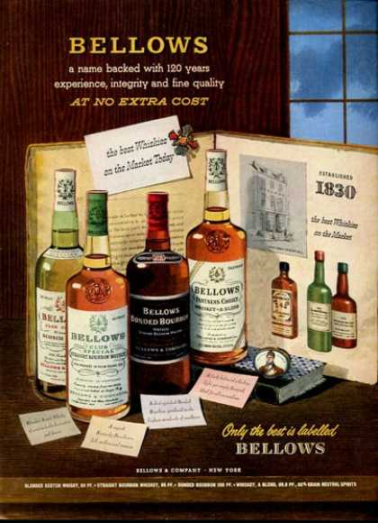 Bellows Whisky Bottles (1951)