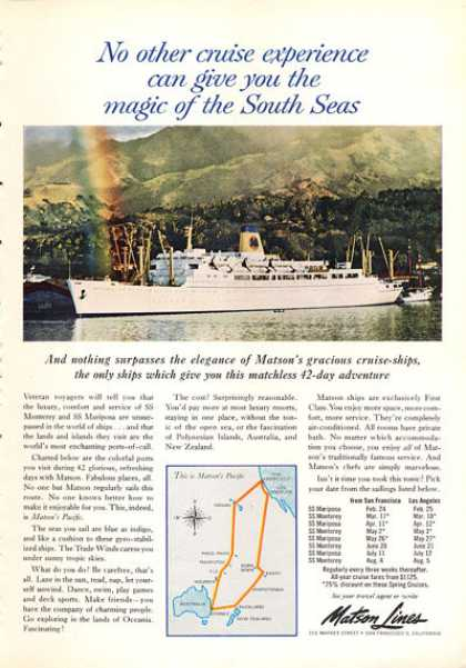 Matson Lines Ocean Liner Cruise Ship Pacific (1963)