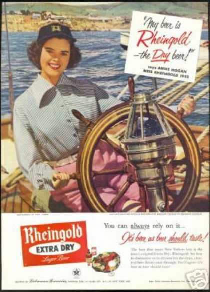 Miss Rheingold Beer Anne Hogan Sailboat (1952)