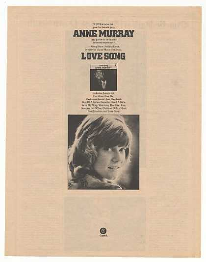 Anne Murray Love Song Album Promo Photo (1974)