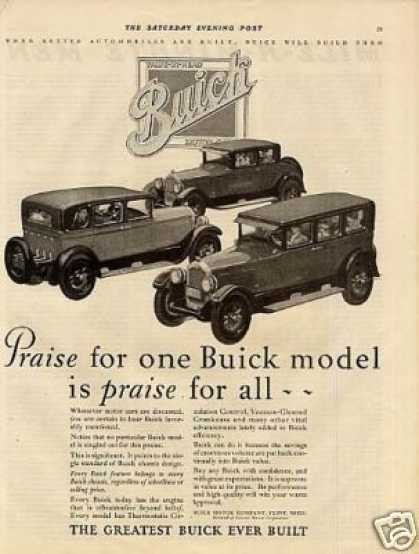 "Buick Cars Ad ""Praise for One... (1927)"
