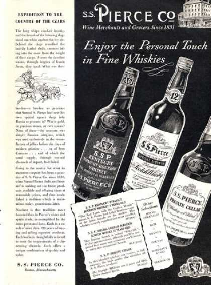 Ss Pierce Whiskies Bottles (1953)