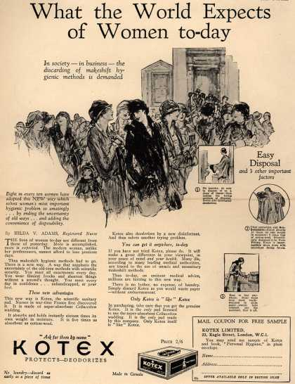 Kotex Company's Sanitary Napkins – What the World Expects of Women today (1928)