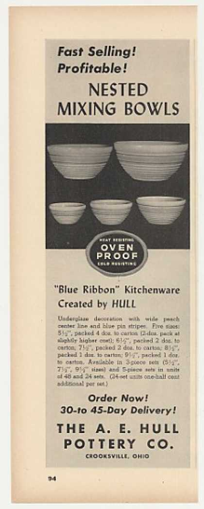 A E Hull Pottery Blue Ribbon Mixing Bowls Trade (1947)